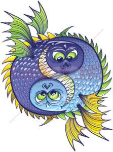 Halloween Yin yang monstrous fishes - illustratoons