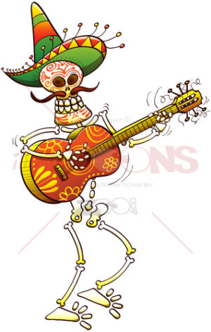 Mexican skeleton playing guitar animatedly - illustratoons