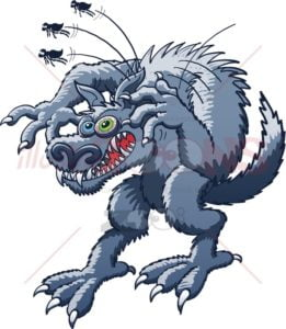 Monstrous werewolf scratching fleas - illustratoons