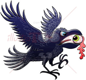 Naughty raven showing a ripped out eyeball in beak - illustratoons