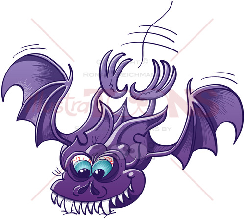 Scary bat attacking and sinking its fangs into a surface - illustratoons