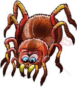 Scary tarantula sinking its fangs into a surface - illustratoons