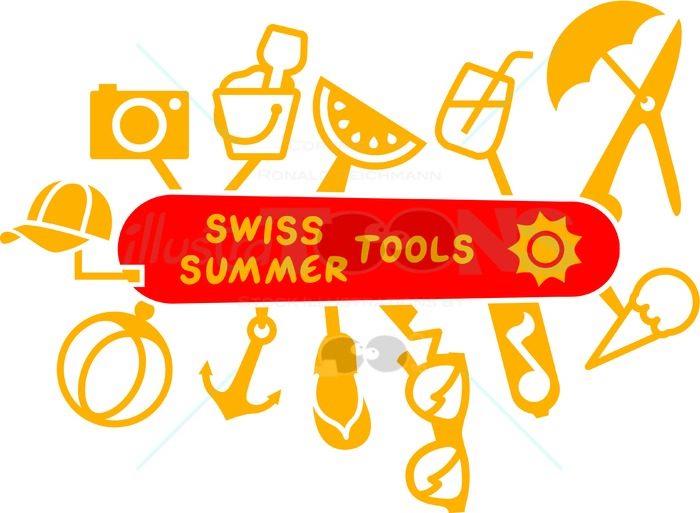 Swiss summer knife multifunction tools - illustratoons