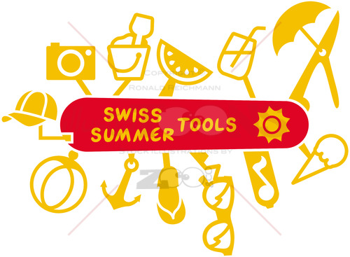 Swiss summer knife multifunction tools - illustratoons