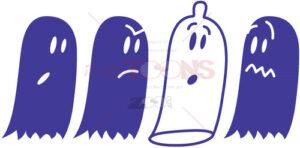 A mischievous condom hidden among ghosts - illustratoons