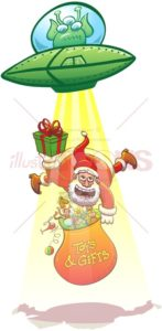 Alien kidnapping Santa Claus with its flying saucer - illustratoons