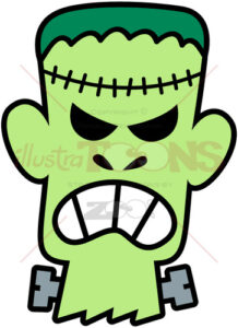 Angry Franky head clenching his teeth - illustratoons
