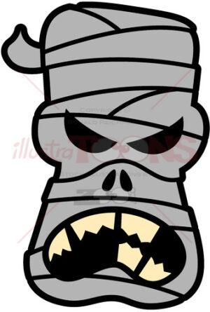 Angry Halloween mummy complaining - illustratoons