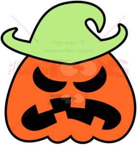 Angry Halloween scarecrow grumbling - illustratoons