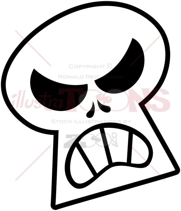 Angry Halloween skull clenching teeth - illustratoons
