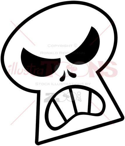Angry Halloween skull clenching teeth - illustratoons