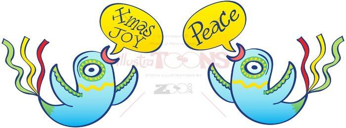 Christmas birds wishing peace and joy - illustratoons