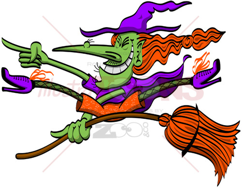 Crazy Halloween witch doing tricks on her broomstick - illustratoons
