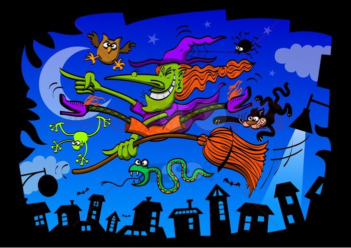 Crazy witch riding her magic broomstick - illustratoons