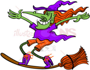 Crazy witch surfing on her broomstick - illustratoons