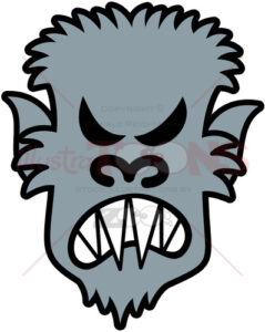 Halloween gray werewolf feeling angry - illustratoons