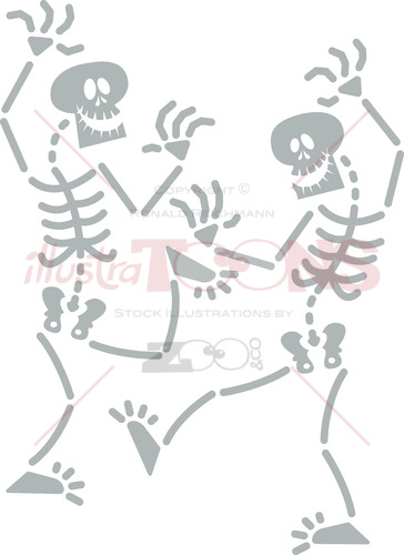 Halloween skeletons dancing frenetically - illustratoons