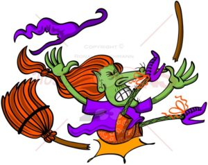 Halloween witch having a broomstick crash - illustratoons