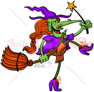 Joyful witch celebrating Halloween animatedly - illustratoons