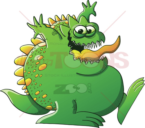 Mischievous green monster clowning around - illustratoons