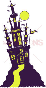 Purple Halloween castle in Gothic style - illustratoons