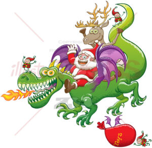 Santa and reindeer waving while riding a Christmas dragon - illustratoons