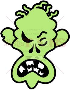 Scary Halloween zombie feeling angry - illustratoons