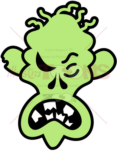 Scary Halloween zombie feeling angry - illustratoons