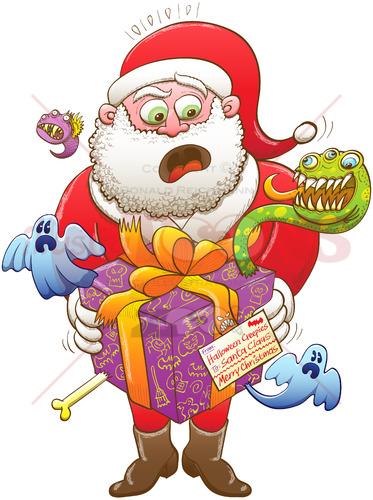 Weird Christmas gift from Halloween creepies to Santa - illustratoons