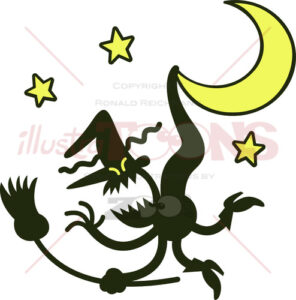 Witch grumbling when suspended from a crescent moon - illustratoons
