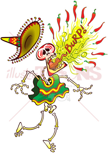 Mexican skeleton burping hot chili peppers - illustratoons