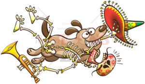 Mischievous dog running away with a skeleton in its mouth - illustratoons