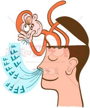 Monkey mind being aware of meditator's breath - illustratoons