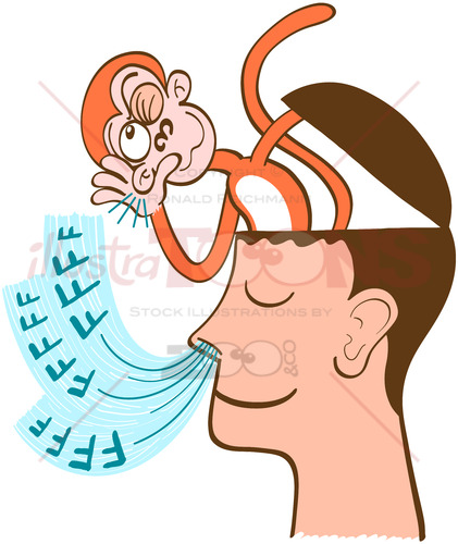 Monkey mind being aware of meditator's breath - illustratoons