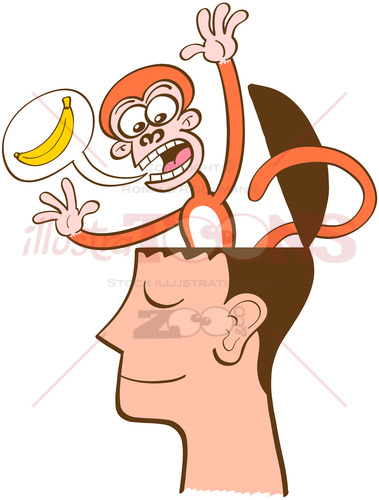 Monkey mind furiously asking for bananas - illustratoons