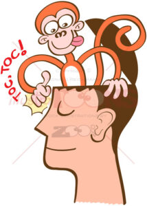 Monkey mind knocking on meditator's head - illustratoons