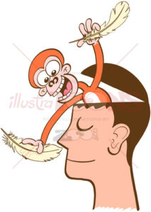 Monkey mind tickling meditator's nose with a feather - illustratoons