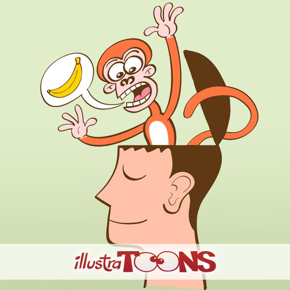 Collection of Royalty free images depicting a monkey mind while perturbing meditation