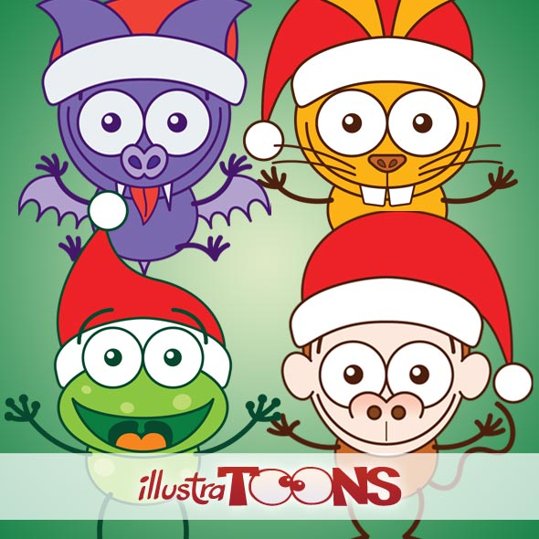 Christmas Animals Wearing Santa Hat