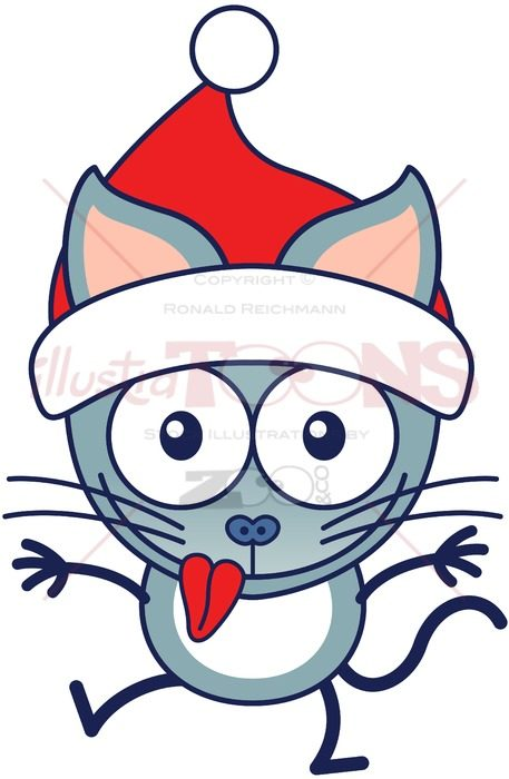 Christmas cat wearing Santa hat and making funny faces - illustratoons