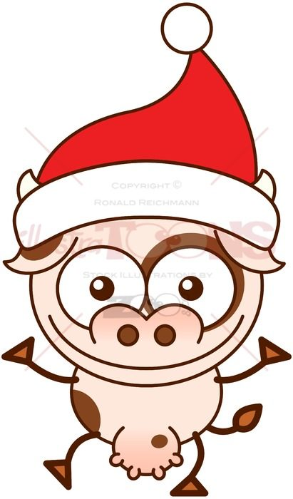 Christmas cow wearing Santa hat and greeting - illustratoons