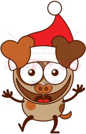 Christmas dog wearing Santa hat and laughing joyfully - illustratoons