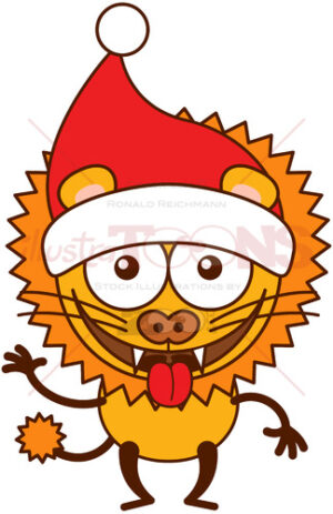 Christmas lion wearing Santa hat and making funny faces - illustratoons