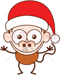Christmas monkey wearing a Santa hat - illustratoons
