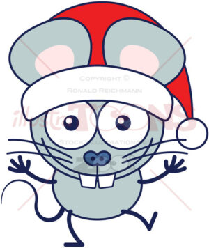 Christmas mouse wearing Santa hat and celebrating big - illustratoons