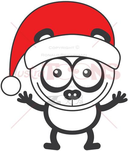 Christmas panda bear wearing a red Santa hat - illustratoons