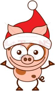 Christmas pig wearing a red Santa hat - illustratoons