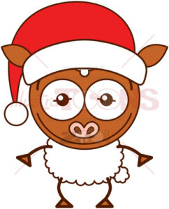 Christmas sheep wearing a Santa hat - illustratoons