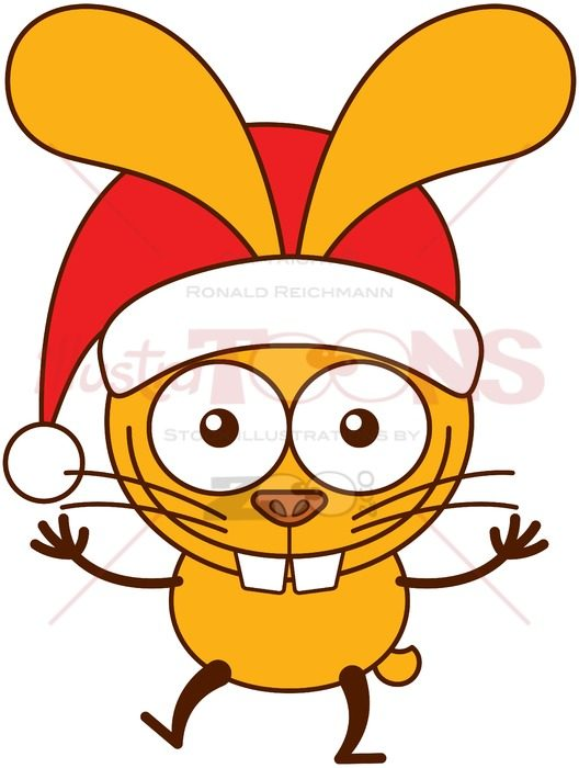 Funny rabbit wearing Santa hat and welcoming Christmas - illustratoons
