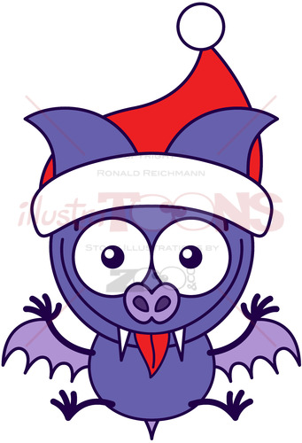Purple bat wearing Santa hat and welcoming Christmas - illustratoons